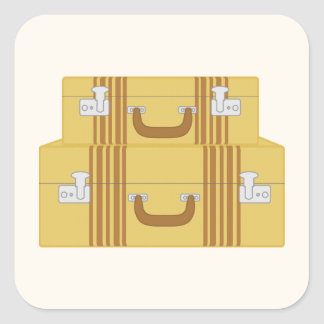 Vintage Suitcases Square Sticker