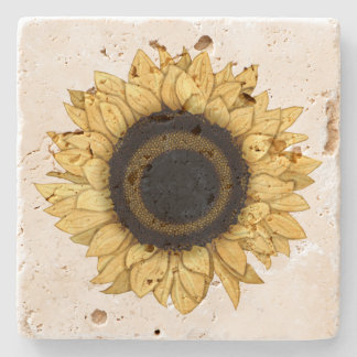 Vintage Summer Bloom Yellow Sunflower Coaster