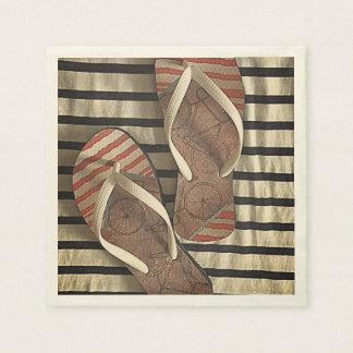 Vintage Summer Flip Flop Stripes Paper Napkin