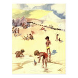 Vintage Summer Holiday at the Beach Postcard