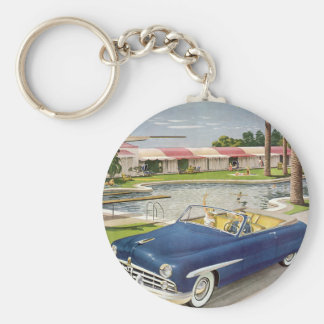 Vintage Summer Vacation, Convertible Car and Motel Basic Round Button Key Ring
