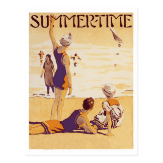 Vintage Summertime at the Beach Postcard