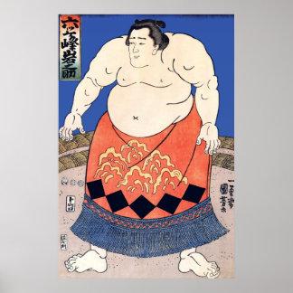 Vintage Sumo Wrestler Poster Print