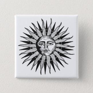 Vintage Sun 15 Cm Square Badge