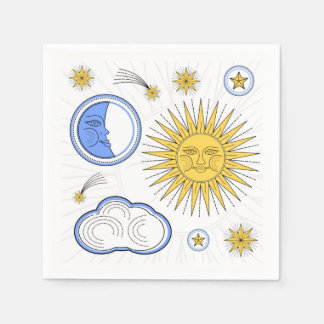 Vintage Sun and Moon Paper Napkins
