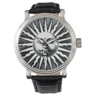 Vintage Sun Black Leather Watch