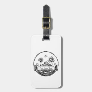 Vintage Sun Moon Stars Ocean Planet Earth Drawing Luggage Tag