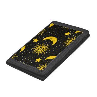 Vintage Sun Moon Stars Pattern Tri-fold Wallets