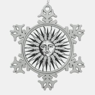 Vintage Sun Pewter Snowflake Decoration