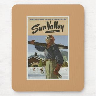 Vintage Sun Vallley Ski Advrtisement Mousepads