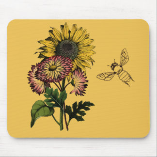 Vintage SunFlower & Bee Mouse Pad