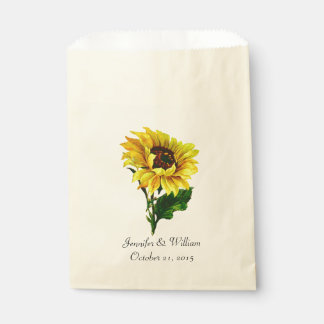 Vintage Sunflower Custom Wedding Favor Bag