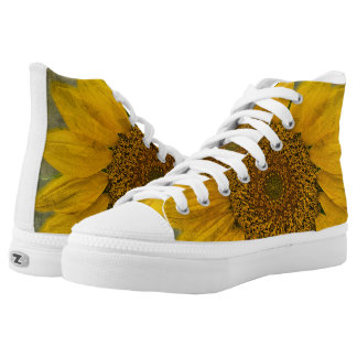 Vintage Sunflower High Top Lace Shoes Printed Shoes