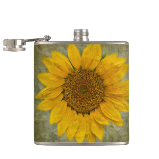Vintage Sunflower Hip Flask