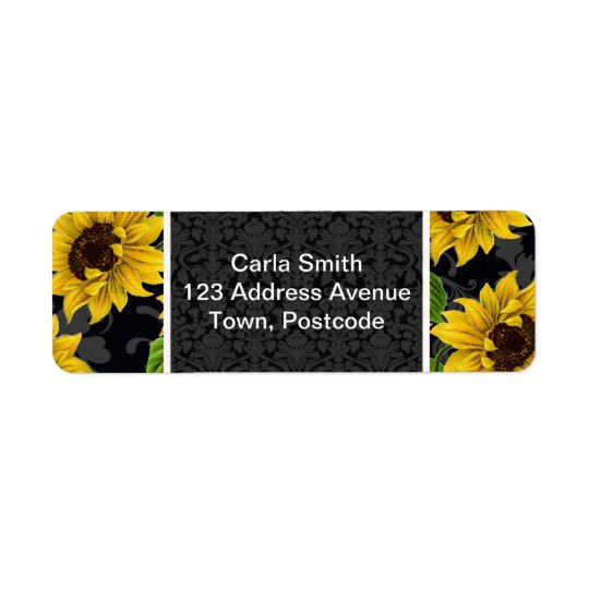 Vintage sunflower pattern return address label