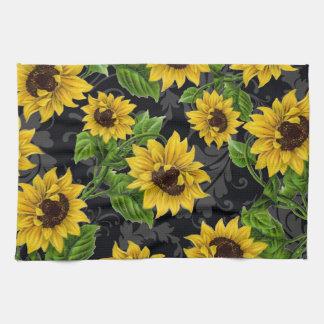 Vintage sunflower pattern tea towel