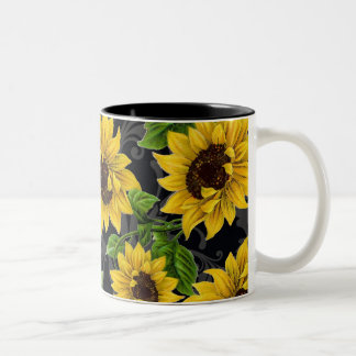 Vintage sunflower pattern Two-Tone coffee mug