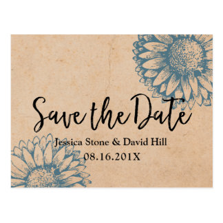 Vintage Sunflower Wedding Kraft Save the Date Postcard