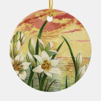 Vintage Sunrise Easter Lilies and Victorian Angels Ceramic Ornament
