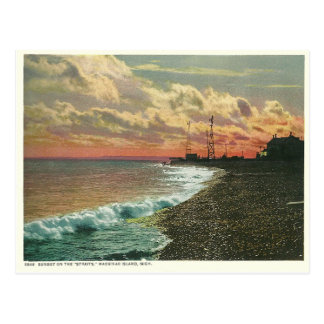 Vintage Sunset Mackinac Island Michigan Postcard
