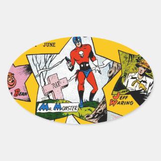Vintage Super Hero Comic Oval Sticker