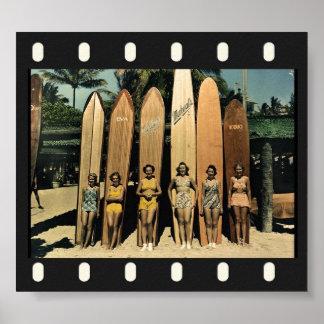 Vintage surfers poster