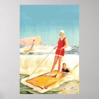 Vintage Surfing Art deco Poster