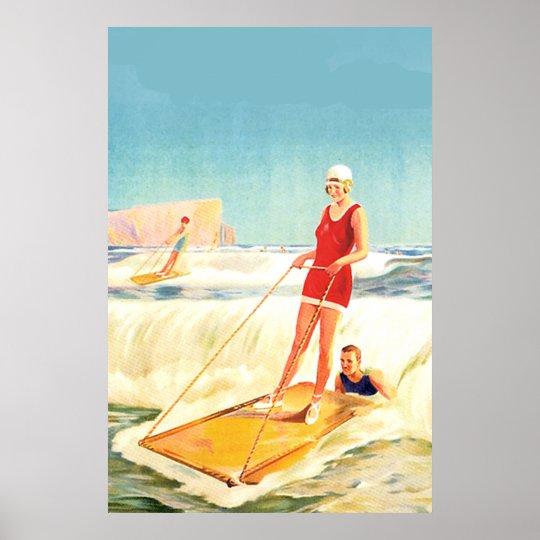 vintage surfing art deco poster. Black Bedroom Furniture Sets. Home Design Ideas