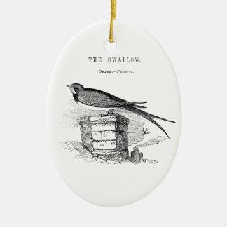 Vintage swallow bird ceramic oval decoration
