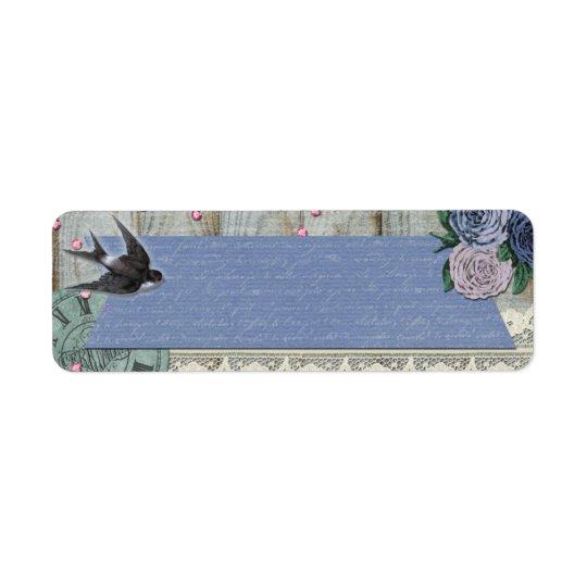 Vintage Swallow Bird Cobalt Blue Shabby Chic Craft Return Address Label