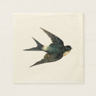 Vintage Swallow Bird Illustration Disposable Napkins