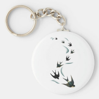 Vintage Swallow Birds Art Key Ring