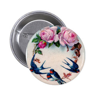 vintage swallows and roses on cyan 6 cm round badge