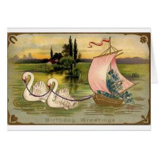 Vintage Swan Birthday Card