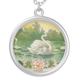 Vintage Swan Silver Plated Necklace