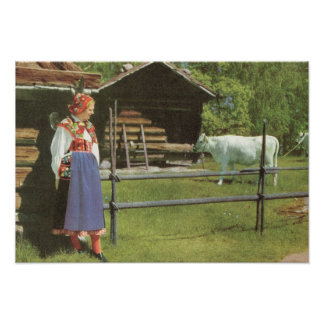 Vintage Sweden,  Regional costume, farm with cow Poster