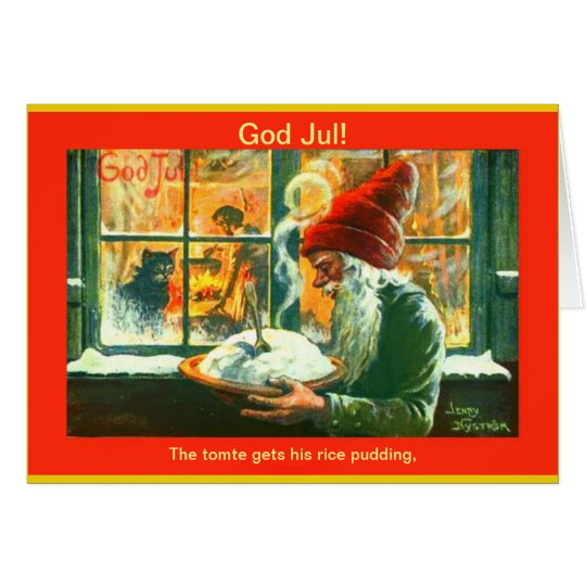 Vintage Swedish Christmas  God Jul Tomte or Gnome Card
