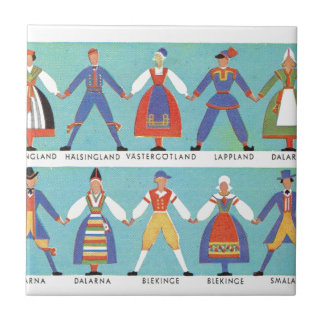 Vintage Swedish regional costumes Small Square Tile