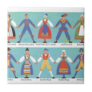 Vintage Swedish regional costumes Small Square Tile