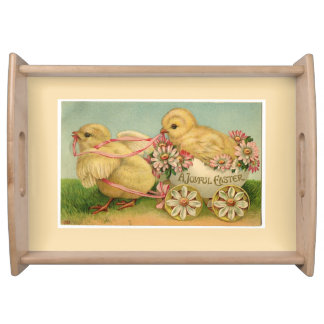 Vintage Sweet Fluffy Chicks Easter Serving Tray