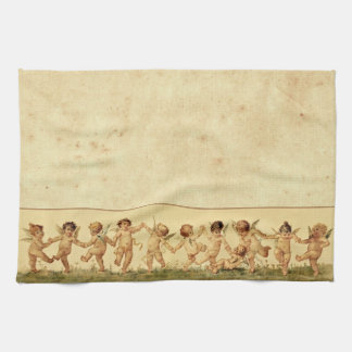 Vintage Sweet Happily Dancing Cherubs Tea Towel