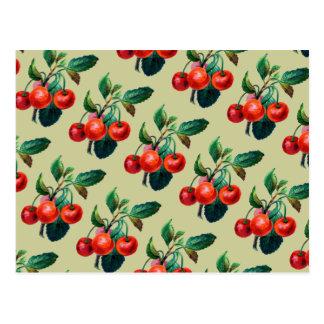 Vintage Sweet Red Cherries Fruit Wallpaper Pattern Postcard