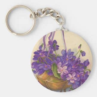 VINTAGE SWEET VIOLETS EASTER GREETINGS BASIC ROUND BUTTON KEY RING