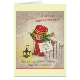 Vintage Sweetheart Christmas Greeting Card