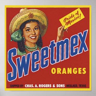 Vintage Sweetmex Oranges Fruit Crate Label Poster