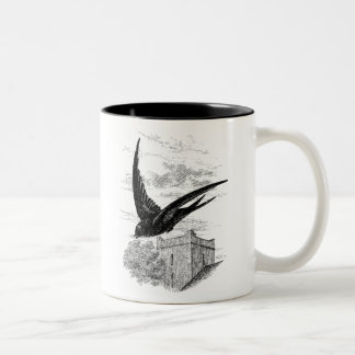 Vintage Swift Swallow Bird Illustration Template Two-Tone Coffee Mug