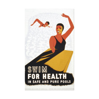 Vintage Swim for Health Exercise Canvas Print