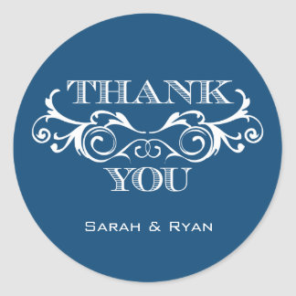 Vintage Swirl Blue Wedding Favor Stickers