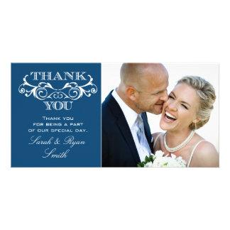 Vintage Swirl Blue Wedding Photo Thank You Personalised Photo Card