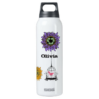 Vintage Swirl Flower Bird & Birdcage Recycle Sign 0.5 Litre Insulated SIGG Thermos Water Bottle